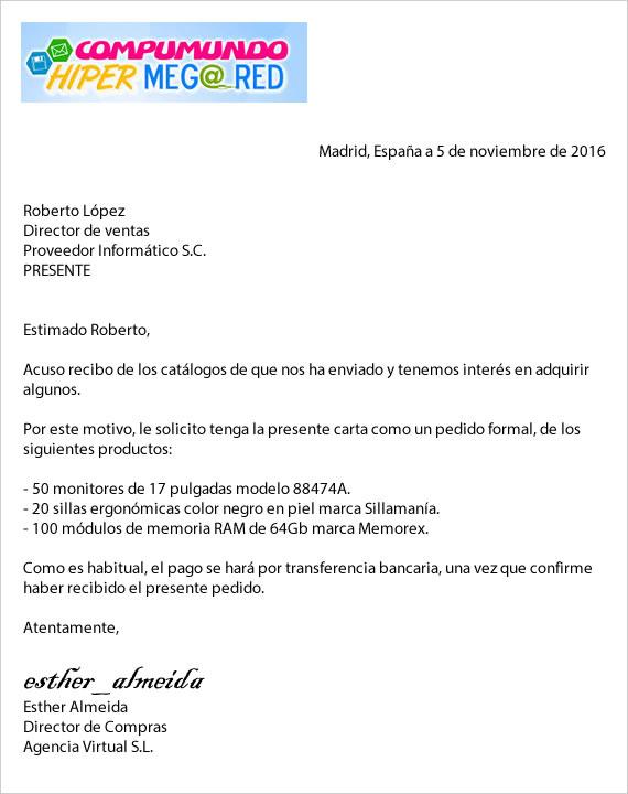 Ejemplo de carta pedido materiales informáticos