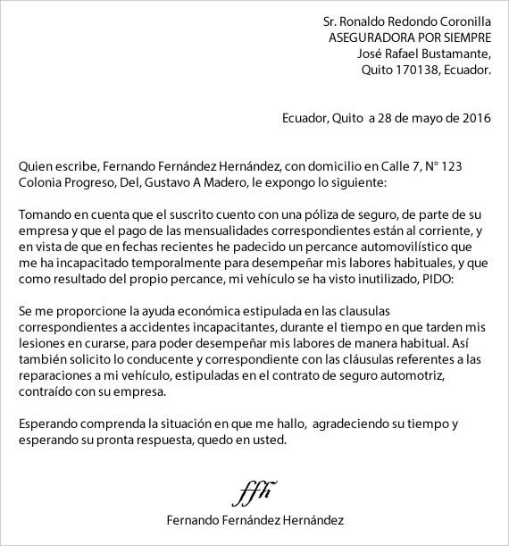Ejemplo de carta petición
