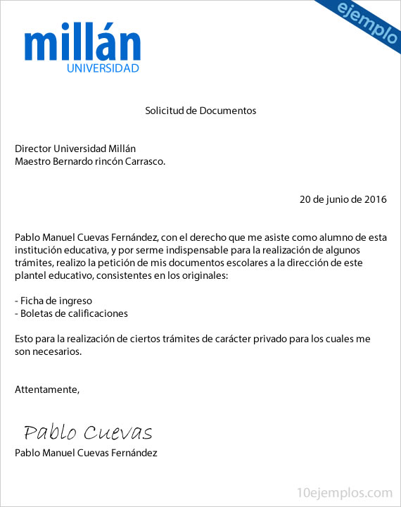 Formato de carta para solicitud documentos