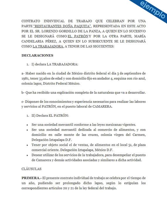 Contrato individual de trabajo ejemplos de ser mejor en for Contrato trabajo