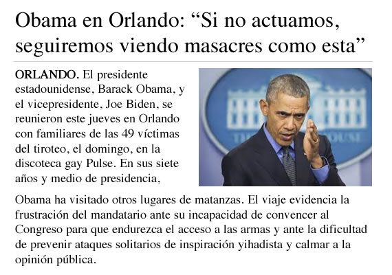 Ejemplo de una noticia sobre Obama