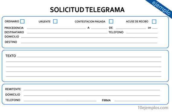 Ejemplo de un formato de telegrama