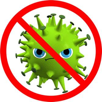 Virus tachado, antivirus