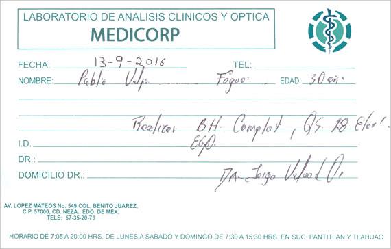 Ejemplo receta médica de análisis clínicos