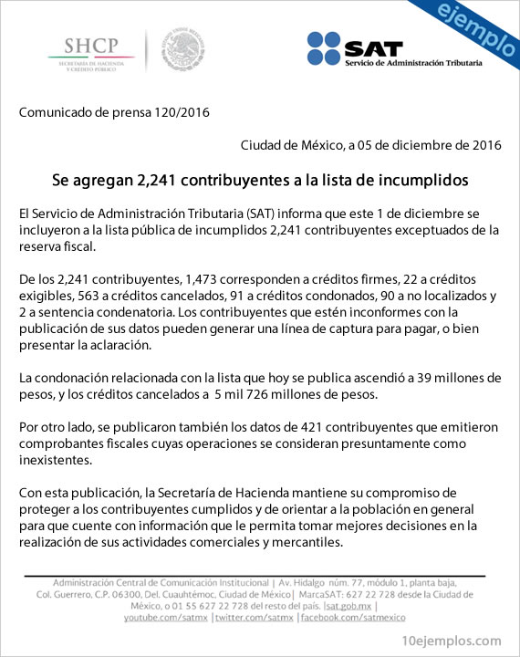 Ejemplo de formato de comunicado de prensa