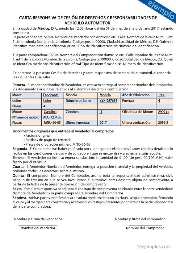 Ejemplos De Carta Responsiva De Compra Venta De Auto
