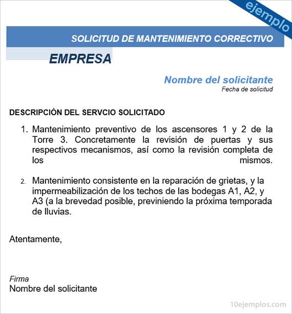 Formato de una solicitud mantenimiento