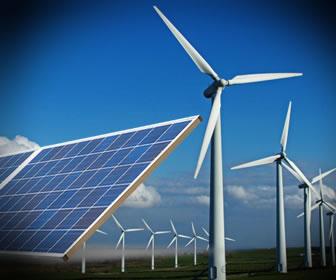 Ejemplos de tecnologías limpias, energía eólica y paneles solares.