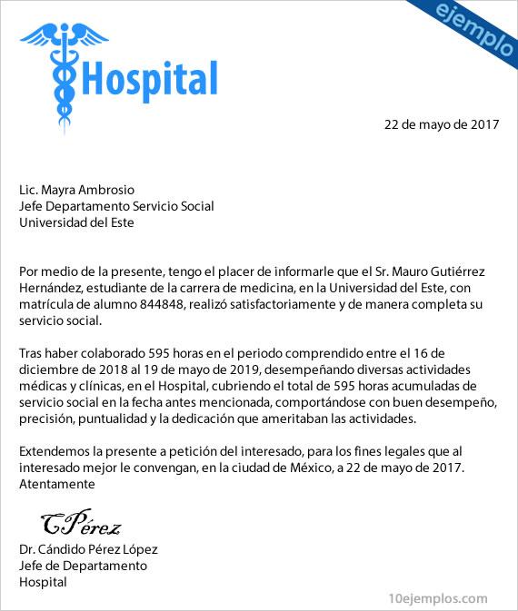 Carta terminación servicio social