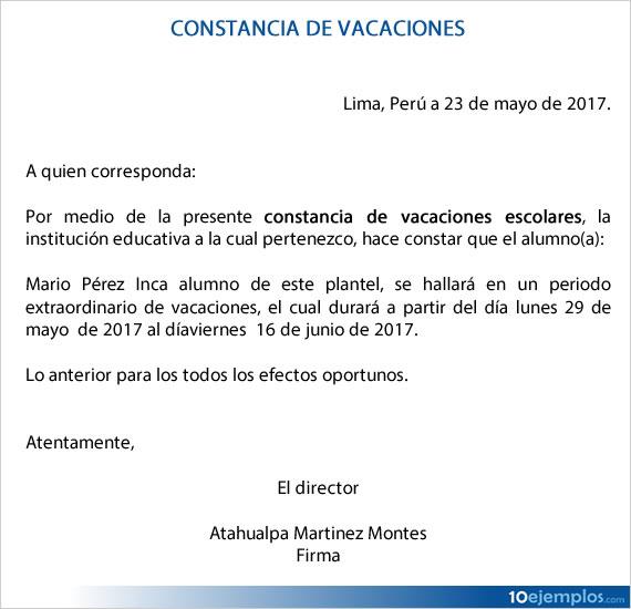 Una carta de constancia de vacaciones, es un documento informativo.