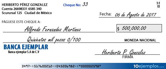 Ejemplo de cheque a la orden