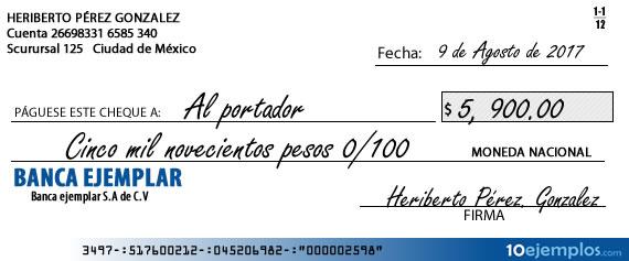 Ejemplo de cheque al portador