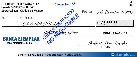 Ejemplo de cheque certificado