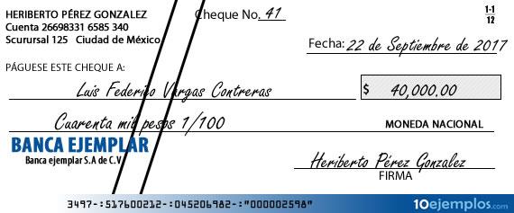 Ejemplo de cheque cruzado
