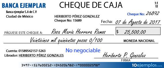 Ejemplo de cheque de caja
