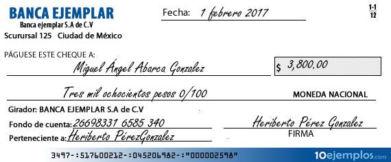 Ejemplo de cheque de ventanilla