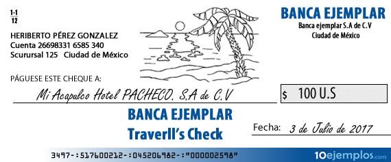 Ejemplo de cheque de viajero
