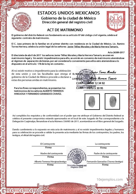 Matrimonio Definicion : Ejemplos de documento legal