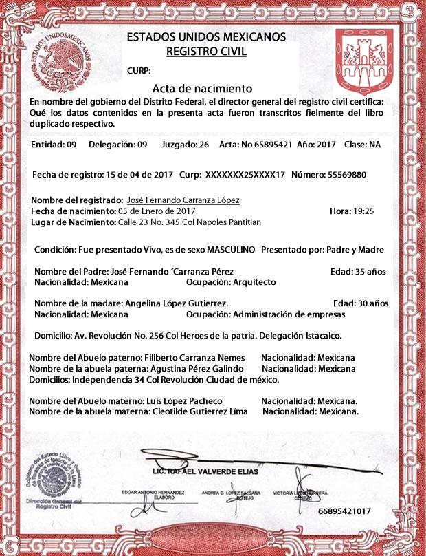 El acta de nacimiento es un ejemplo de documento legal