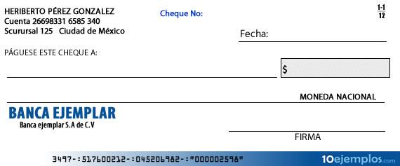 Ejemplo de cheque en blanco