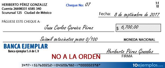 Ejemplo de cheque no a la orden