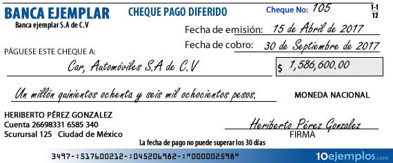 Ejemplo de cheque de pago diferido