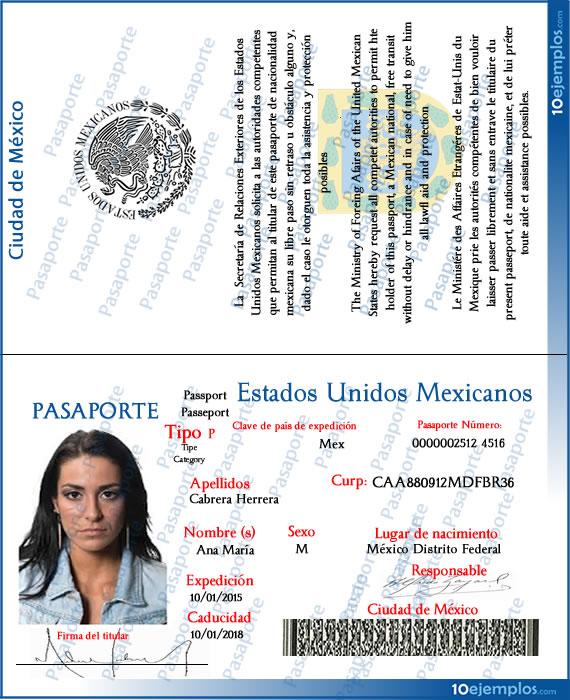 Ejemplo de un Pasaporte