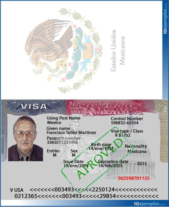 Ejemplo de visa