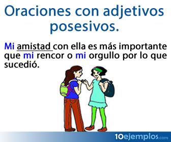 Los adjetivos posesivos son los que califican al sustantivo y en este caso es como propiedad.