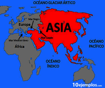 Los países Asiáticos se encuentran junto a Europa y África